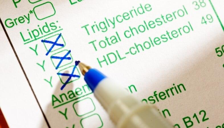lipid level test form for cholesterol