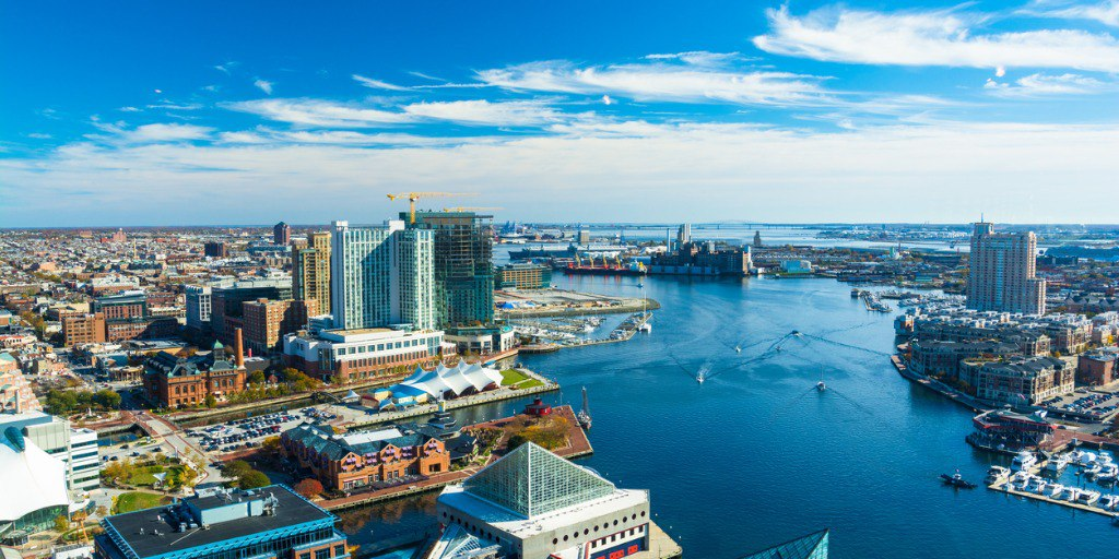 Baltimore skyline with river.